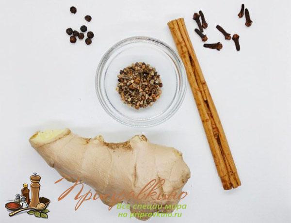Основные специи в составе чая масала