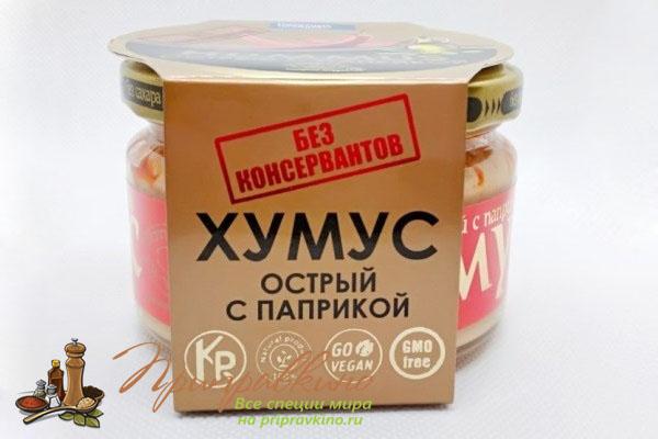 На фото магазинный хумус без ГМО и консервантов