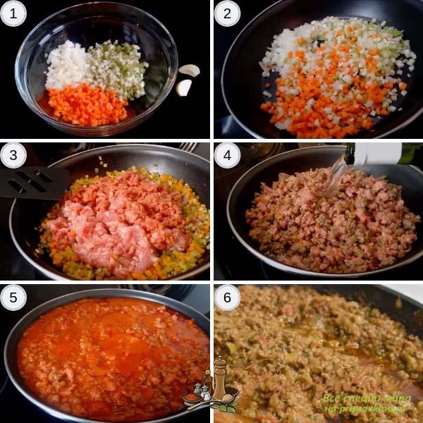 Фото пошагового приготовления классического соуса болоньезе