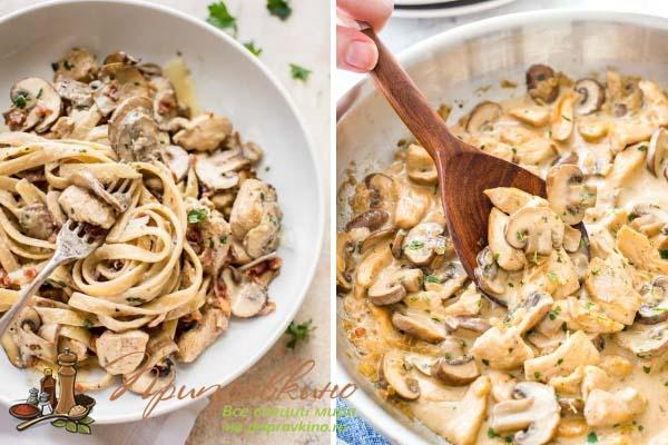 Сметанный соус с грибами и луком для макарон
