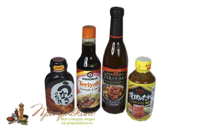 На фото разные соусы унаги в магазине