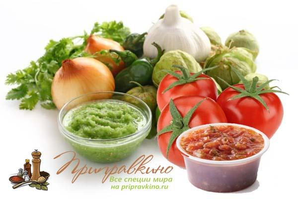 На фото красный и зеленый соус сальса