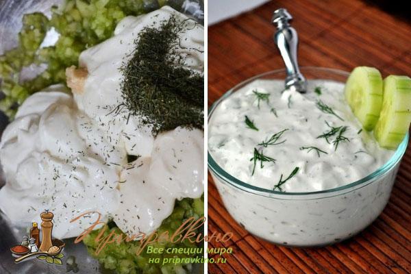 Ингредиенты для приготовления домашнего дзадзики (цацики) и готовый соус