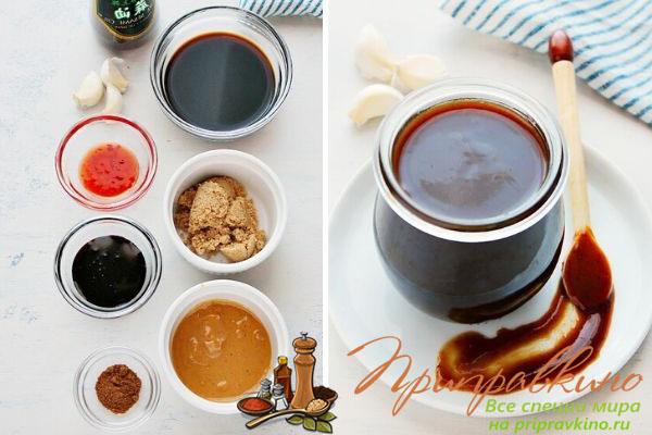 Фото ингредиентов для приготовления хойсин и готовый соус.