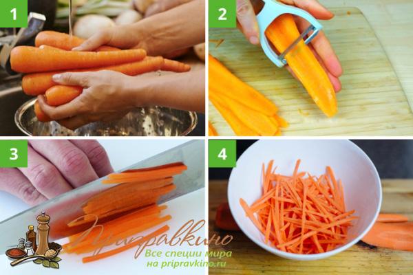 Пошаговый процесс нарезки моркови без специальной «корейской» терки